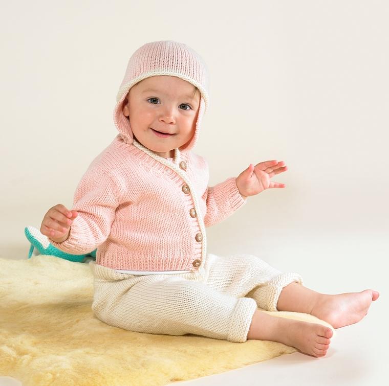 Merino Hat and FL101 Merino Cardigan Rose Pink