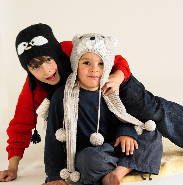 Merino Penguin Hat and Merino Penguin Scarf with Merino Bear Hat and Merino Bear Scarf